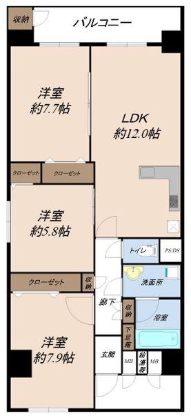 市川パークハウスB棟 301号室
